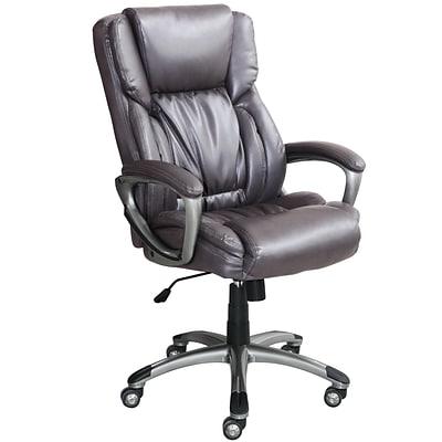Serta Works Bonded Leather Executive Office Chair, Harvard Gray (CHR200113)