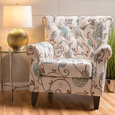 Noble House Estes Fabric Side Chair White and Blue Single (299261)