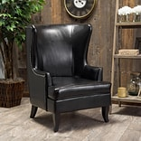 Noble House Ian Bonded Leather Side Chair Black Single (295412)