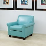 Noble House Walters Bonded Leather Side Chair Teal Single (258617)