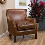 Noble House Foley Top grain leather Side Chair Brown Single (296713)