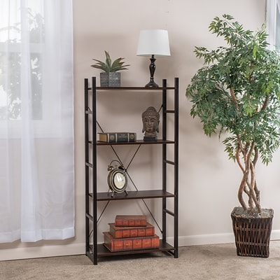 Noble House Franklin 4 Shelf Bookcase 53.54H Classic Dark Walnut (295898)