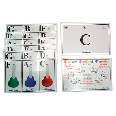 Sweet Pipes Color Coded Handbell Cards, Set of 7
