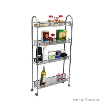 Mind Reader TALLCART4-SIL 4 Tier Slim and Tall Kitchen Trolley, Silver