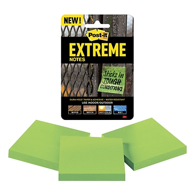 Post-it® Extreme Notes, 3 x 3, Green, 3 Pads/Pack (EXTRM33-3TRYGN)