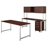 Bush Business Furniture 400 Series 72W x 30D Table Desk with Credenza, Hutch and Mobile File, Harves