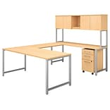 Bush Business Furniture 400 Series 72W x 30D U Shaped Table Desk with Hutch and 3 Drawer Mobile File