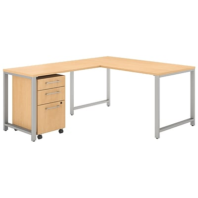 Bush Business Furniture 400 Series 60W L Shaped Desk with 42W Return and 3 Drawer Mobile File Cabinet, Natural Maple (400S130AC)