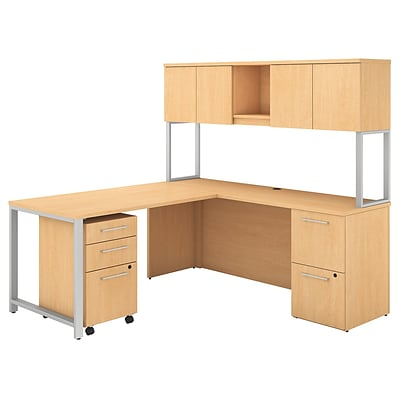 Bush Business Furniture 400 Series 72W x 22D L Shaped Desk with Hutch, 48W Return and Storage, Natural Maple (400S127AC)