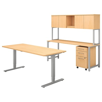 Bush Business Furniture 400 Series 72W x 30D Height Adjustable Standing Desk with Credenza and Hutch, Natural Maple (400S193AC)