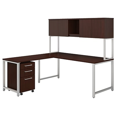 Bush Business Furniture 400 Series 72W x 30D L Shaped Desk with Hutch, 42W Return and Mobile File, Harvest Cherry (400S181CS)