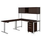 Bush Business Furniture 400 Series 72W L Shaped Desk with Height Adjustable Return, Hutch and Storag