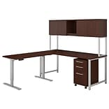 Bush Business Furniture 400 Series 72W L Shaped Desk with Height Adjustable Return and Hutch, Harves