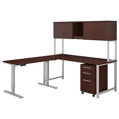 Bush Business Furniture 400 Series 72W L Shaped Desk with Height Adjustable Return and Hutch, Harvest Cherry (400S189CS)