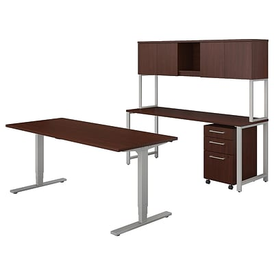 Bush Business Furniture 400 Series 72W x 30D Height Adjustable Standing Desk with Credenza and Hutch, Harvest Cherry (400S193CS)