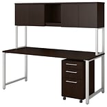 Bush Business Furniture 400 Series 72W x 30D Table Desk with Hutch and 3 Drawer Mobile File Cabinet,