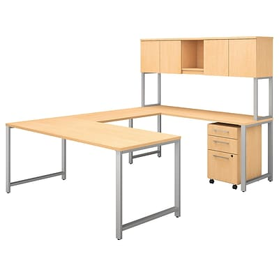 Bush Business Furniture 400 Series 72W U Shaped Table Desk with Hutch and Mobile File, Natural Maple, Installed (400S160ACFA)