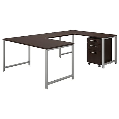 Bush Business Furniture 400 Series 60W U Shaped Table Desk with 3 Drawer Mobile File, Mocha Cherry, Installed (400S161MRFA)