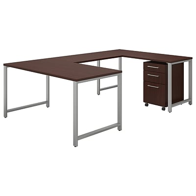 Bush Business Furniture 400 Series 60W x 30D U Shaped Table Desk with Mobile File, Harvest Cherry, Installed (400S161CSFA)