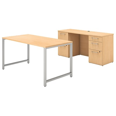 Bush Business Furniture 400 Series 60W x 30D Table Desk and Credenza with File Drawers, Natural Maple, Installed (400S138ACFA)