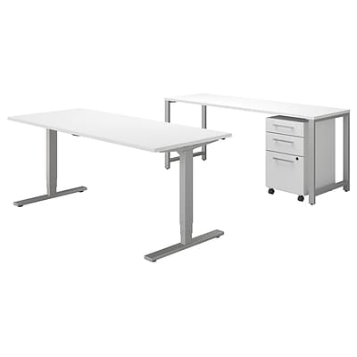 Bush Business Furniture 400 Series 72W x 30D Height Adjustable Standing Desk with Credenza, White, Installed (400S192WHFA)