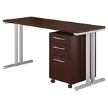 Bush Business Furniture 400 Series 60W x 24D Table Desk with 3 Drawer Mobile File, Harvest Cherry, I
