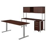 Bush Business Furniture 400 Series 72W Height Adj Standing Desk with Credenza and Hutch, Harvest Che