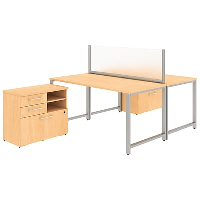 Bush Business Furniture 400 Series 60W x 30D 2 Person Workstation with Table Desks, Natural Maple, Installed (400S142ACFA)