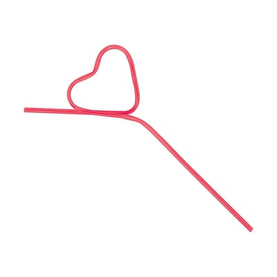 Amscan Valentines Day Heart Krazy Straw, 11, Red, Plastic, 42/Pack (398061)