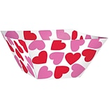 Amscan Valentines Day Heart Square Serving Bowl, 4.25 x 10.5 x 11, Paper, 3/Pack, 3 Per Pack (43
