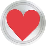 Amscan Key To Your Heart Metallic Paper Plate, 7 x 7, 8 Plates/Pack, 5/Pack (549619)