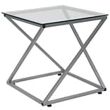 Flash Furniture Park Avenue Collection End Table, Clear/Silver (NANJH1737)