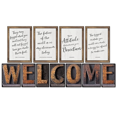 Schoolgirl Style Industrial Chic Bulletin Board Set, WELCOME and 4 Inspirational Posters (110401)