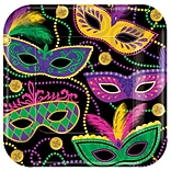 Amscan Mardi Gras Masks Square Paper Plates, 7 x 7, 8 Plates/Pack, 5/Pack (541901)