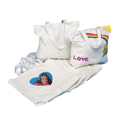 S&S Worldwide Color Me Bag W/Heart Photo Pocket, Pack of 12 (FA1863)