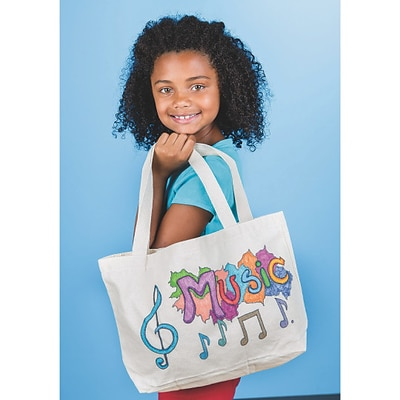 S&S Worldwide Color Me Canvas Tote Bag W/Gusset, Pack of 6 (CM228)