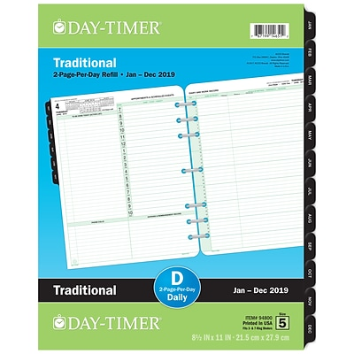 Day-Timer® Reference Two Page Per Day Refill, 12 Months, January Start, Loose-Leaf, Folio Size, 8-1/2 x 11 (94800-1901)