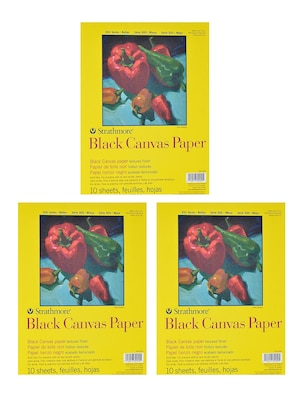 Strathmore 300 Series Black Canvas Paper 9 In. X 12 In. 10 Sheets [pack Of 3](pk3 310 209)