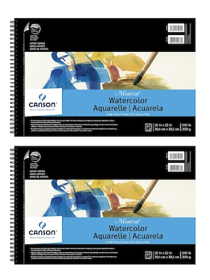 Canson Montval Watercolor Paper 10 In. X 15 In. Pad Of 12 Wire Bound 140 Lb. Cold Press [pack Of 2](pk2 100511059)