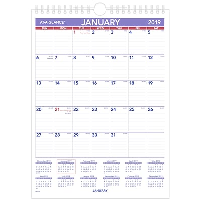 AT-A-GLANCE® Mini Monthly Wall Calendar, 12 Months, January Start, 8 x 11, Wirebound (PM1-28-19)