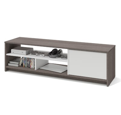 "Bestar(r) Small Space 53.5"" Tv Stand In Bark Gray And White"