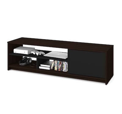 "Bestar(r) Small Space 53.5"" Tv Stand In Dark Chocolate And Black"