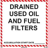 HCL Drained Used Oil & Fuel Filters, Waste Storage Label (SHL0030006625)