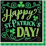 Amscan St. Patricks Day Clover Me Lucky Beverage Napkins, 125/Pack (701906)