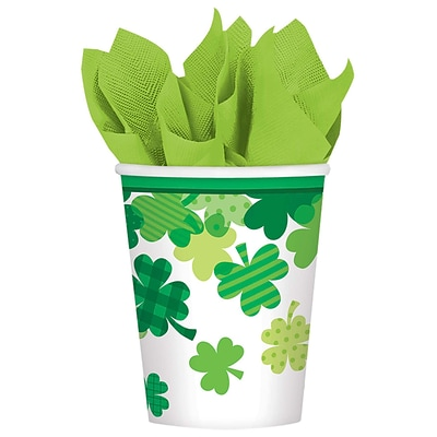 Amscan St. Patricks Day Blooming Shamrock Paper Cups, 9 oz., 18 Cups/Pack, 3/Pack (731732)