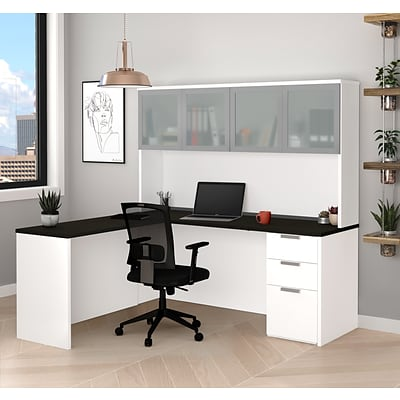 Bestar Pro-Concept Plus L-Desk with Frosted Glass Door Hutch (11088717)
