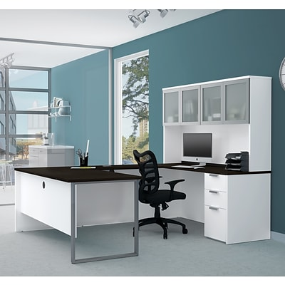 Bestar® Pro-Concept Plus U-Desk with Frosted Glass Door Hutch (11089017)
