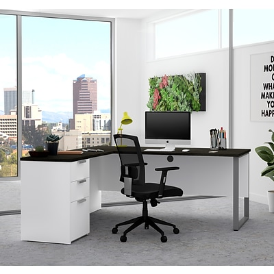 Bestar Pro-Concept Plus L-Desk with Metal Leg in White & Deep Grey (11089117)