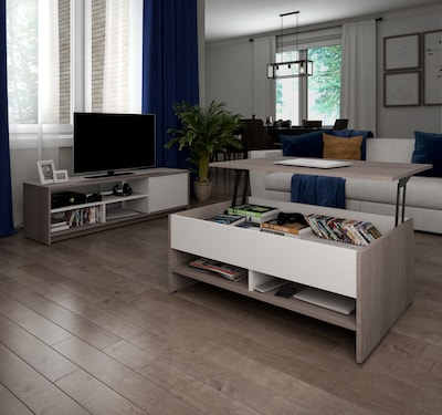 Bestar(r) Small Space 2 Piece Lift Top Storage Coffee Table And Tv Stand (1685047)