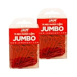 JAM Paper® Colored Jumbo Paper Clips, Large 2 Inch, Red Paperclips, 2 Packs of 75 (2183754a)